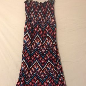 Strapless colorful diamond print zigzag dress